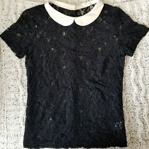 """""""Wednesday Adams"""" Lace and White Collar Top"""